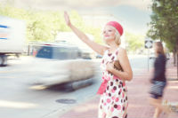 lady calling a taxi