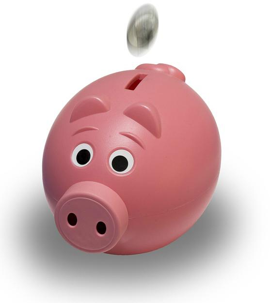 a coin falling into the piggy bank