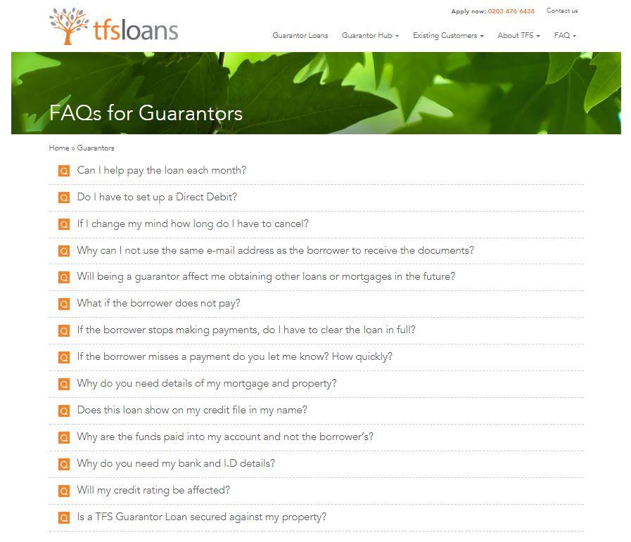 FAQ for guarantors