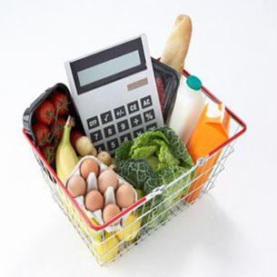 groceries in a basket with a calculator