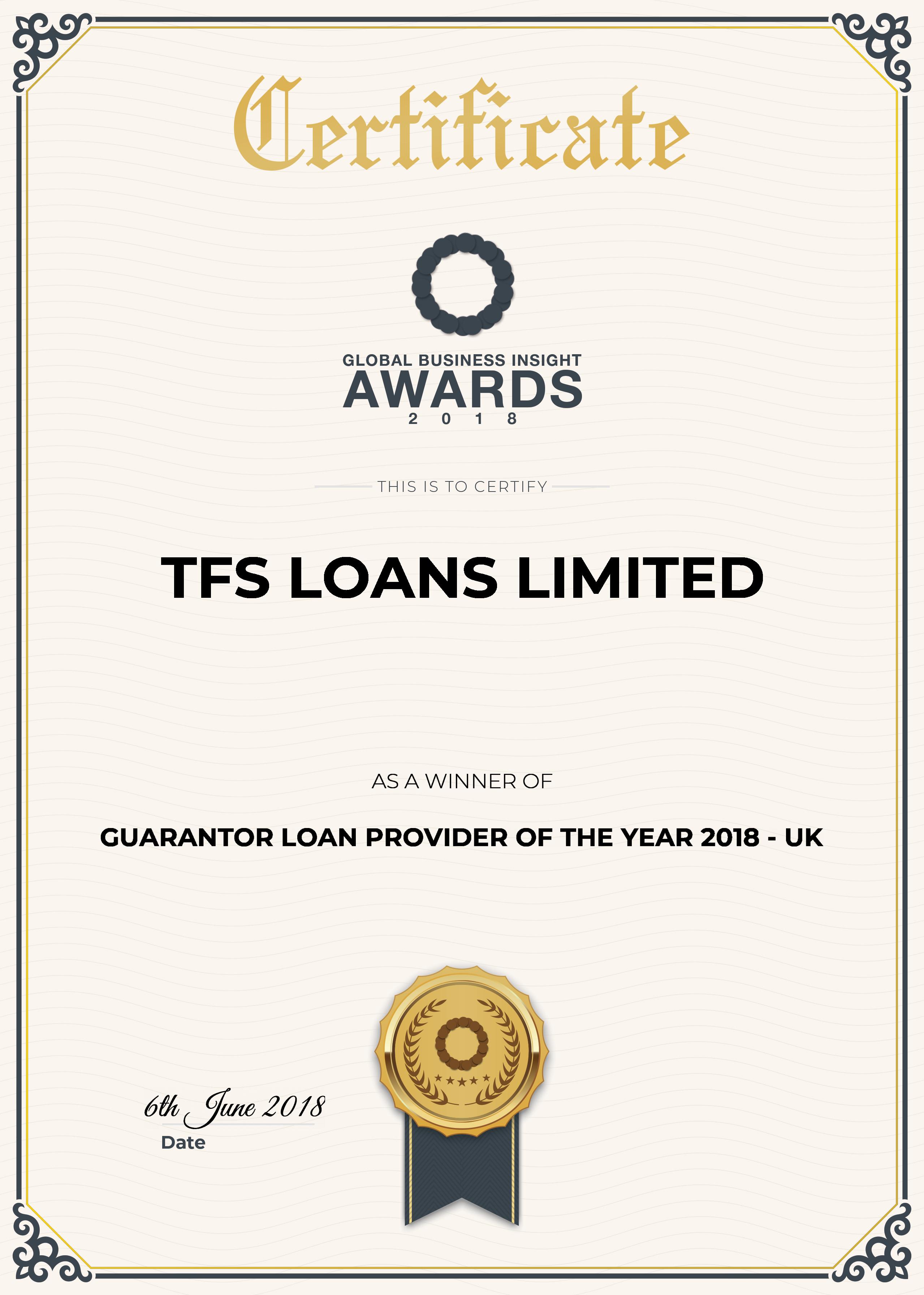 certificate award for guarantor loan provider of the year 2018 UK